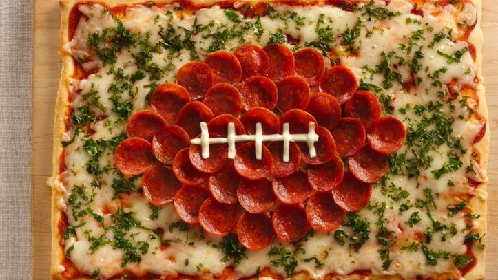 Football-shaped-pizza